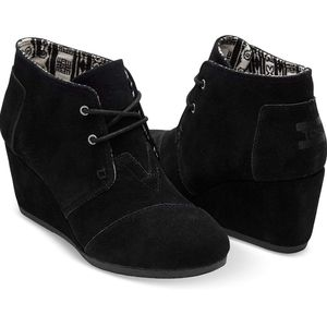 TOMS Wedge Woolen LaceUp Boots/Womens Kala Booties